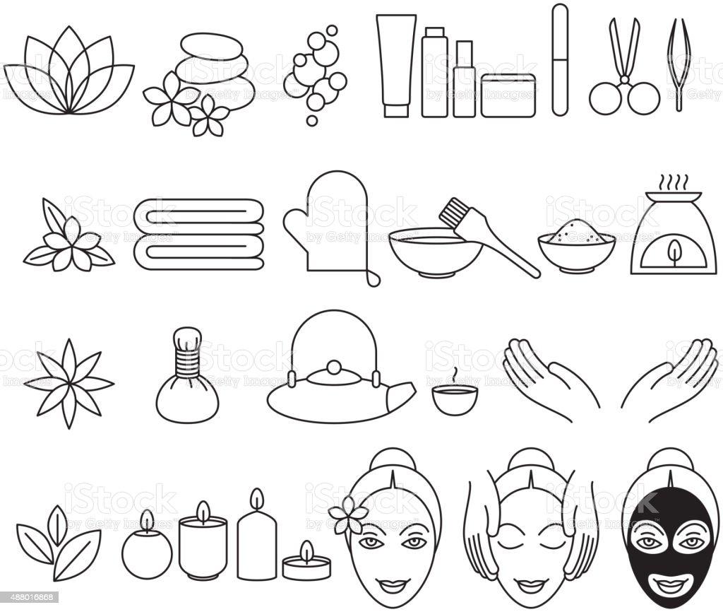 Spa beauty salon wellness center icons set vector art illustration