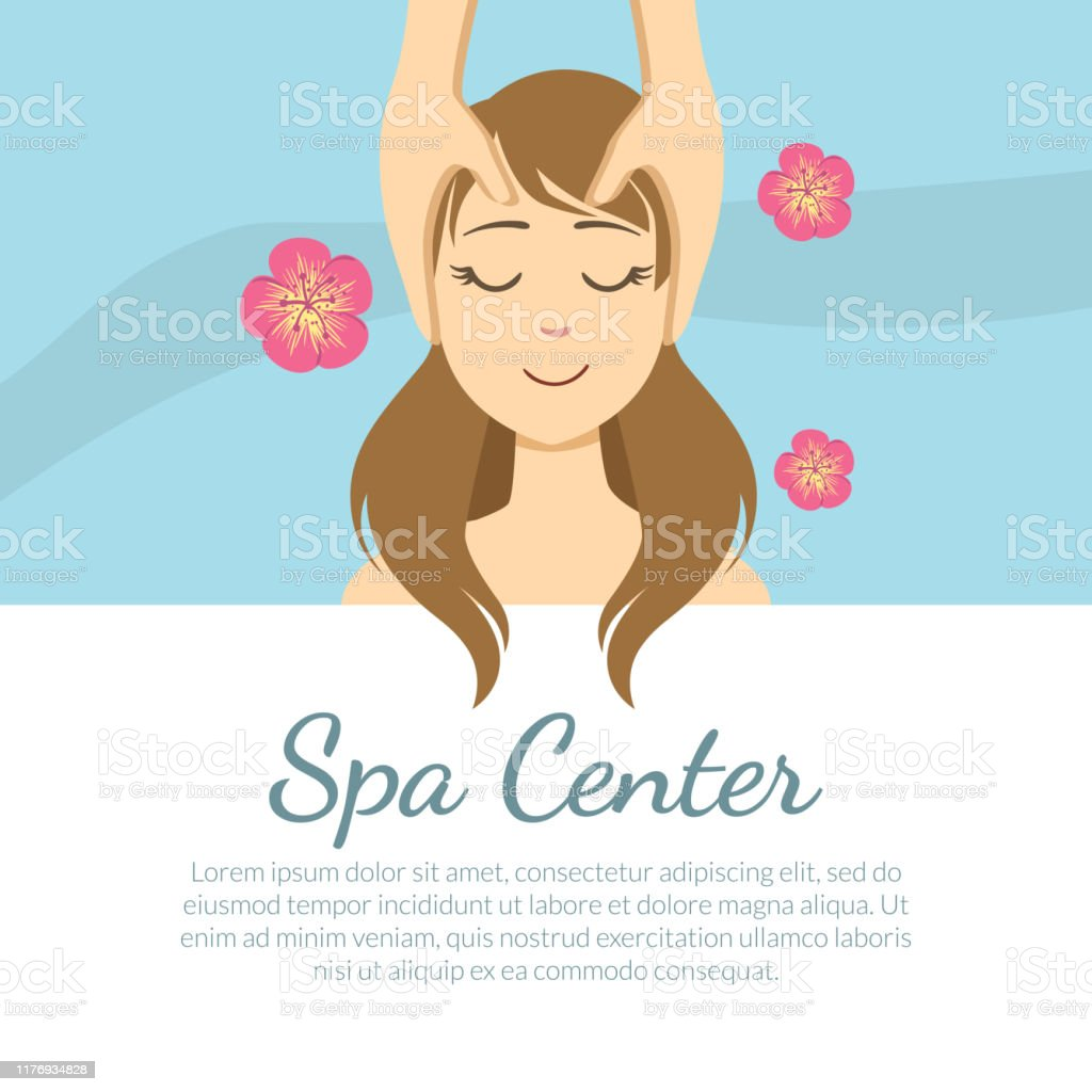 Spa Center Banner Template With Space For Text Young Woman Getting Face Massage Facial Treatments Vector Illustration Stock Illustration Download Image Now Istock