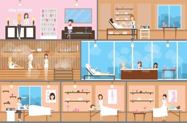 stockillustraties, clipart, cartoons en iconen met wellness center inetrior instellen. - sauna