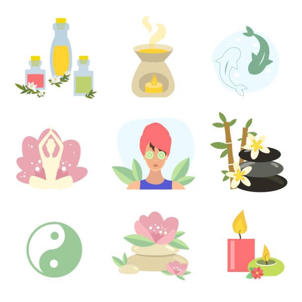 spa-kollektion, yoga. kerzenfelsen. ätherisches öl - naturseife stock-grafiken, -clipart, -cartoons und -symbole