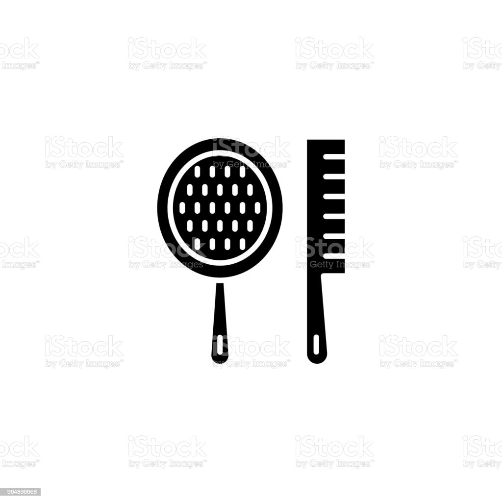 Spa combs black icon concept. Spa combs flat  vector symbol, sign, illustration. royalty-free spa combs black icon concept spa combs flat vector symbol sign illustration stock vector art & more images of barber