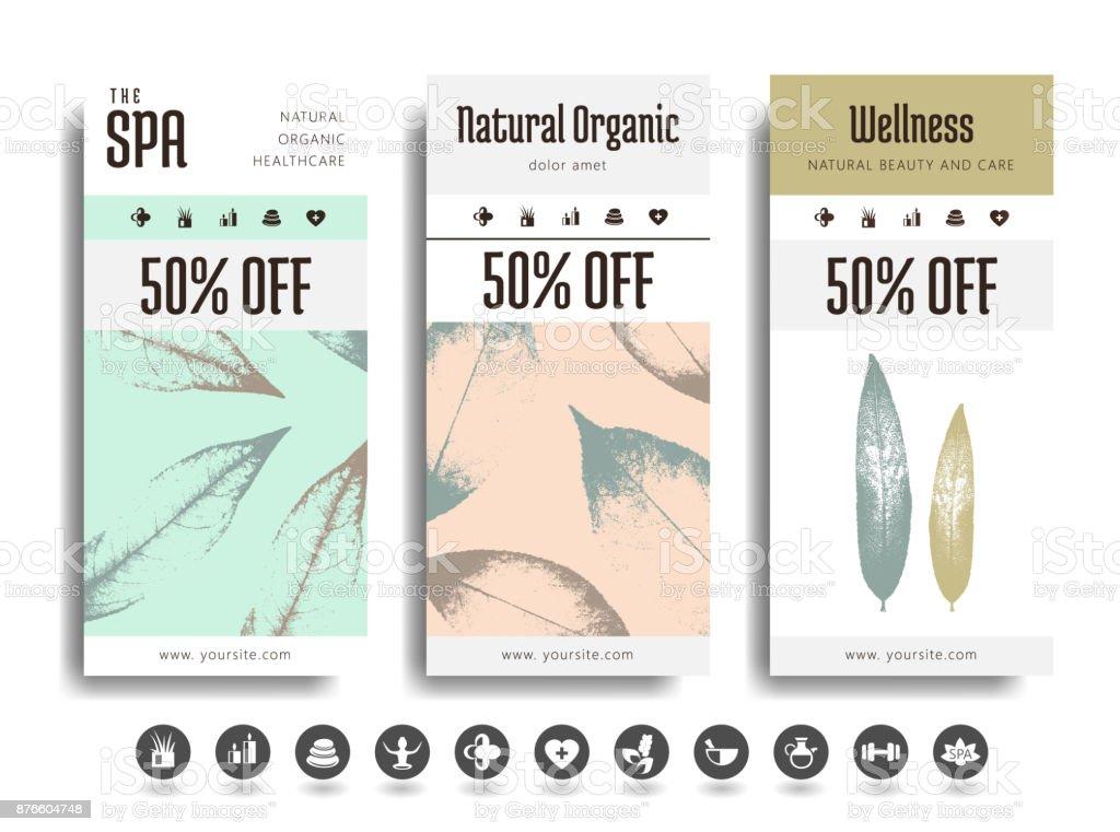 Spa creative cards, flyer, banner, poster design vector art illustration