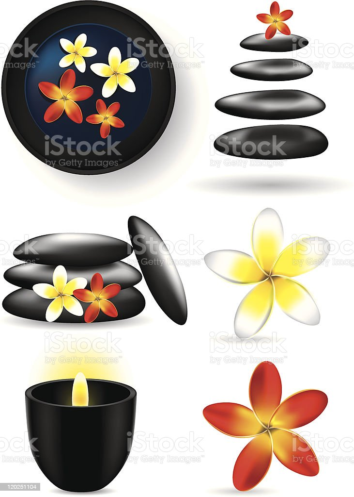 Spa elements - candle, flower, stones : vector illustration royalty-free stock vector art