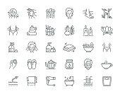 Spa Elements Thin Line Icon Set Series