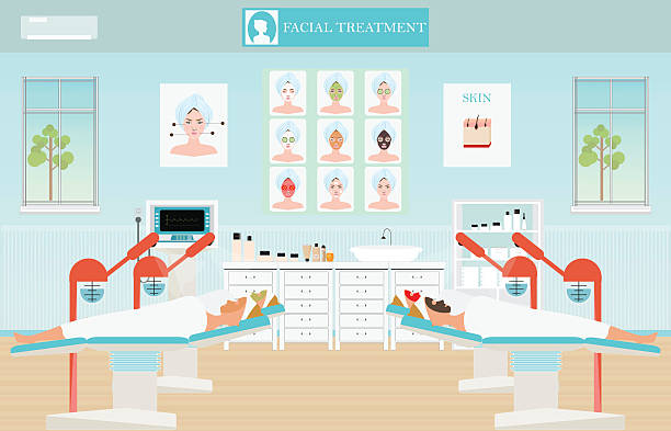 spa facial massage treatment. - mikrodermabrasion stock-grafiken, -clipart, -cartoons und -symbole