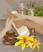Spa, Foot massage. Hands doing foot massage. Vector illustration