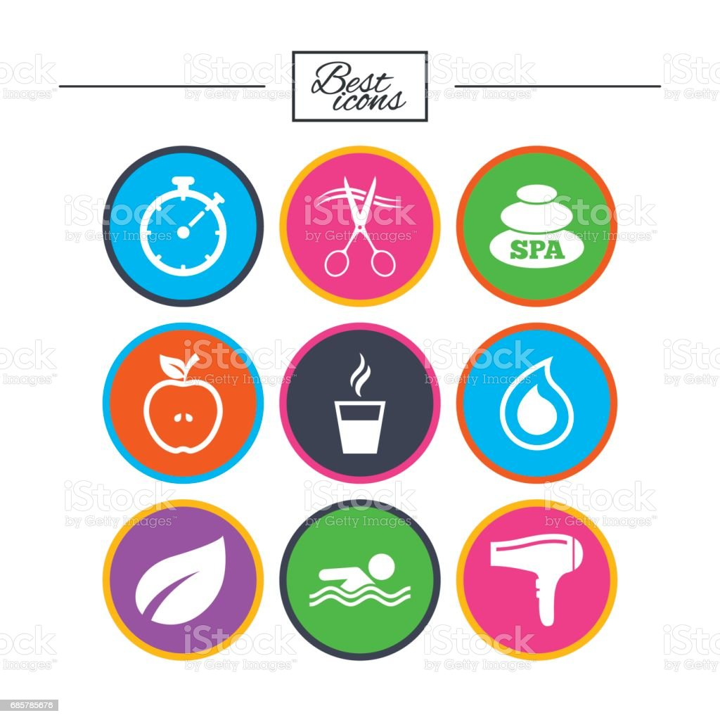 Spa, hairdressing icons. Swimming pool sign. royalty-free spa hairdressing icons swimming pool sign stock vector art & more images of apple - fruit