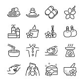 Spa icon set. Included the icons as candle, aromatic, massage, relax, products, salt, hot stone and more.