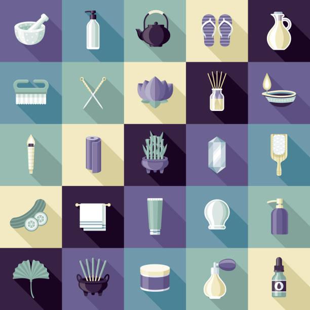 bildbanksillustrationer, clip art samt tecknat material och ikoner med spa ikonuppsättning - spa