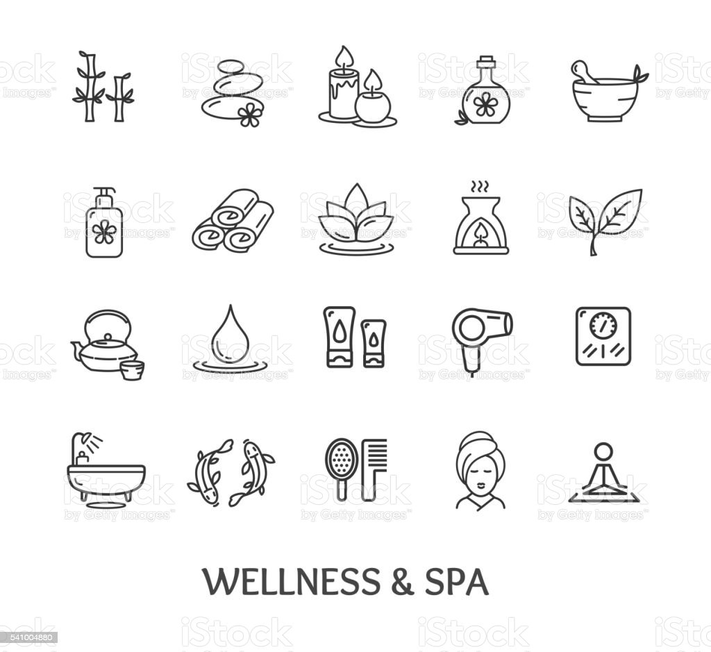 Spa Icon Set. Vector vector art illustration