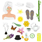 Spa icons set. Set of design elements for spa salon, web site and other. Vector image isolated on white background.