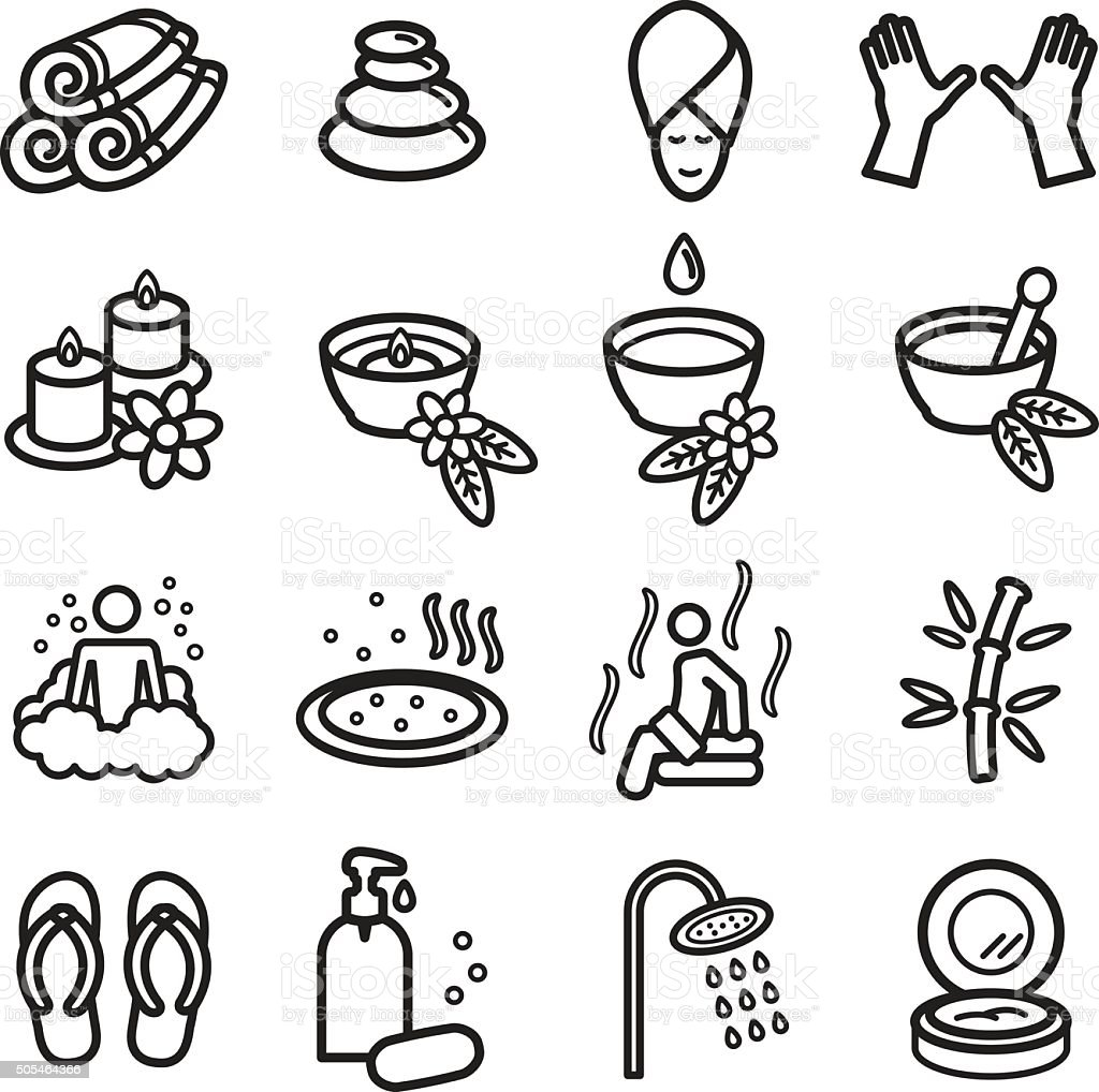 Conjunto de iconos de Spa. Vectoriales eps 10. - ilustración de arte vectorial