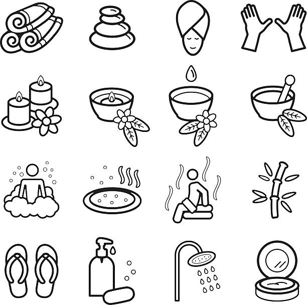 spa-symbole set. vektor-eps - 10. - sauna stock-grafiken, -clipart, -cartoons und -symbole