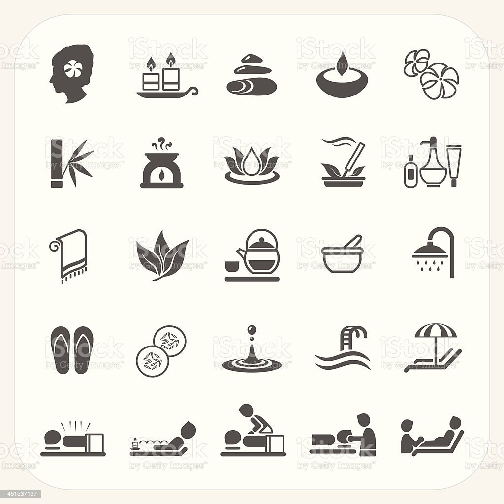 Spa icons set vector art illustration