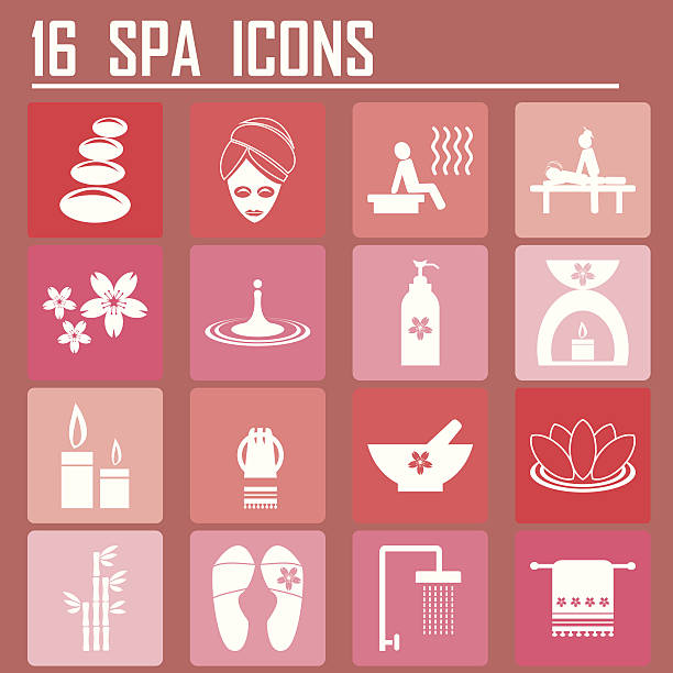 16 spa icons - spa treatment stock illustrations, clip art, cartoons, & icons