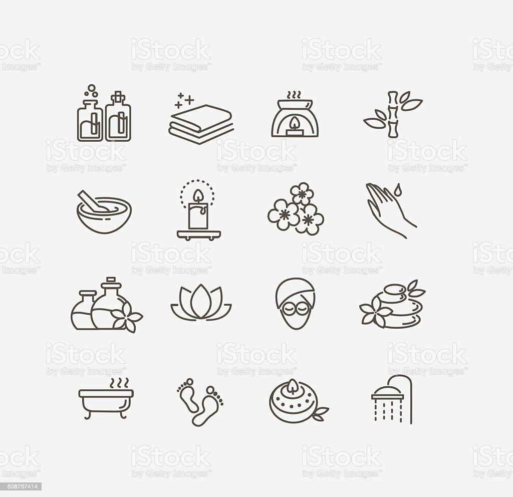 spa icons vector art illustration