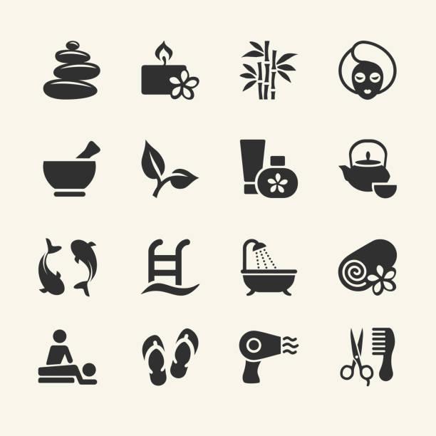 ilustrações de stock, clip art, desenhos animados e ícones de spa ícones - mulher natureza flores e piscina