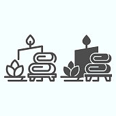 Spa line and solid icon. Massage, wellness and spa vector illustration isolated on white. Towels and candle for relax outline style design, designed for web and app. Eps 10