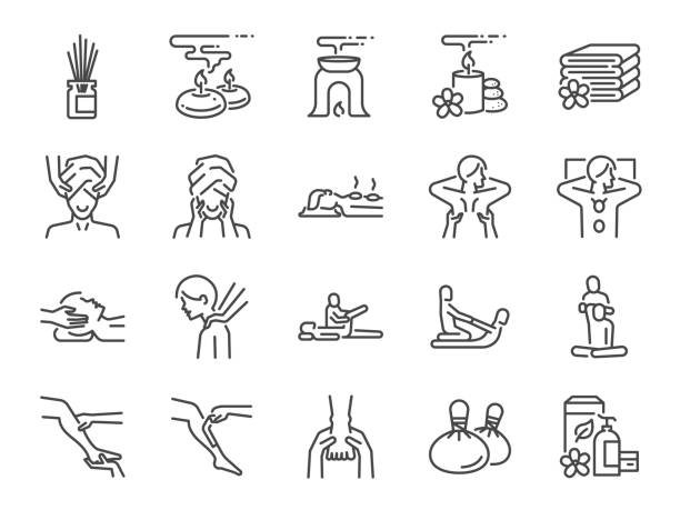 spa line icon set. included icons as relax, relieve, sleep, sound, touch, feeling and more. - massage stock illustrations