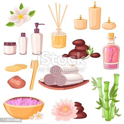 istock Spa massage and beauty salon icons set. Vector cartoon illustration. Body care and natural treatment concept 1130316986