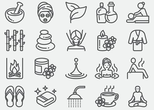 Spa massage and Wellness Line Icons
