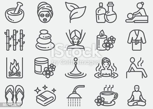 istock Spa massage and Wellness Line Icons 851462956