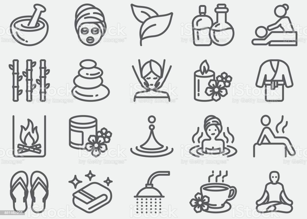 Spa massage and Wellness Line Icons vector art illustration