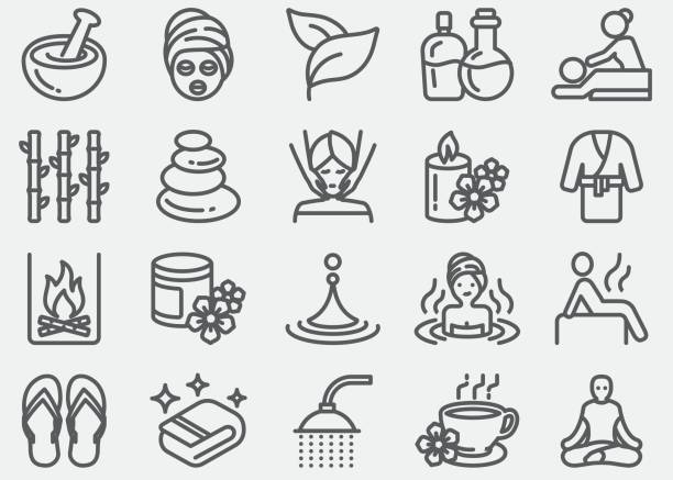 spa massage and wellness line icons - massage stock illustrations