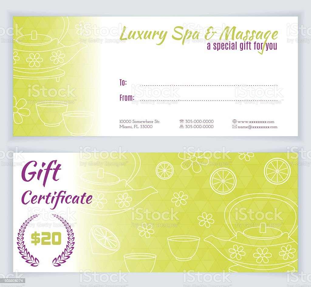 Spa Massage Gift Certificate Template Stock Vector Art More Images