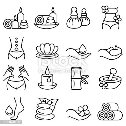 Spa massage icon set , vector illustration