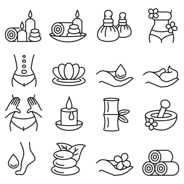 stockillustraties, clipart, cartoons en iconen met wellness massage pictogramserie - spa
