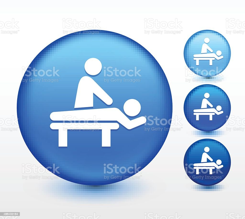 Spa Massage on Blue Round Button vector art illustration