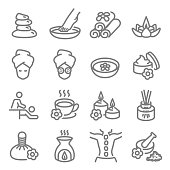 Spa Massage Related Vector Line Icons. Contains such Icons as Aroma Candle, Foot Massage, Diffuser and more. Expanded Stroke.