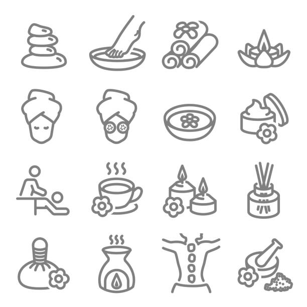 spa massage related vector line icons. contains such icons as aroma candle, foot massage, diffuser and more. expanded stroke. - massage stock illustrations