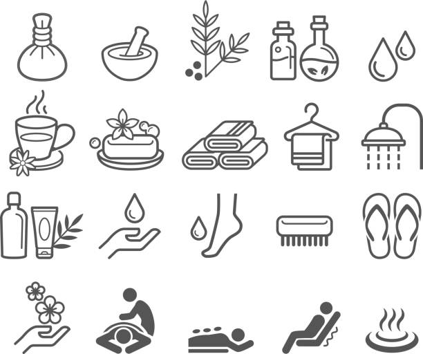 stockillustraties, clipart, cartoons en iconen met spa massage therapy cosmetics icons. - spa