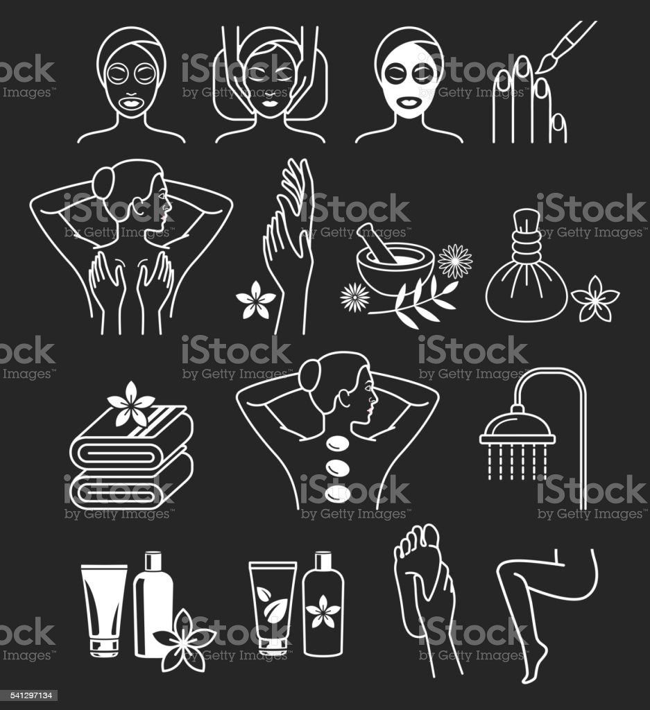 Spa Massage Therapy Skin Care & Cosmetics Services Icons. vector art illustration