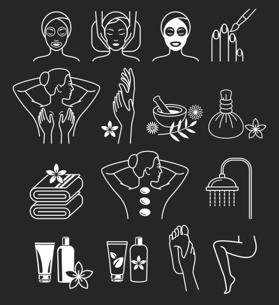 spa massage therapy skin care & cosmetics services icons. - massage 幅插畫檔、美工圖案、卡通及圖標