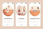 Spa resort for couples onboarding mobile app screen vector template. Finnish sauna. Moroccan hammam. Wooden hot tub. Walkthrough website steps with flat characters. Smartphone cartoon UX, UI, GUI