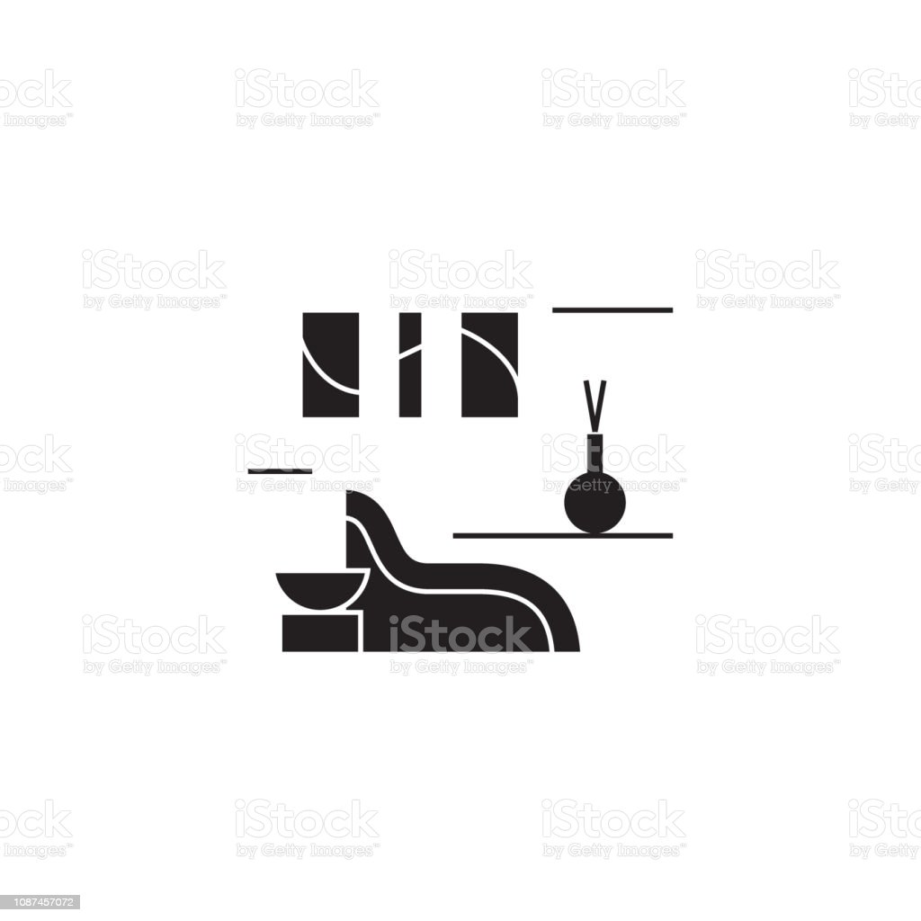 Spa Rest Room Black Vector Concept Icon Spa Rest Room Flat