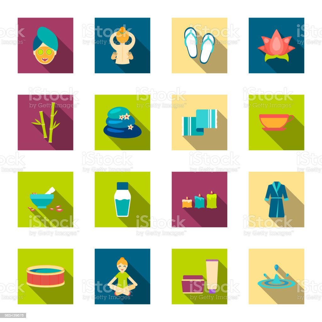 Spa salon and equipment flat icons in set collection for design. Relaxation and rest vector symbol stock web illustration. royalty-free spa salon and equipment flat icons in set collection for design relaxation and rest vector symbol stock web illustration stock vector art & more images of aloe