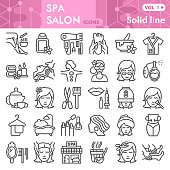 Spa salon line icon set, beauty and fashion symbols collection or sketches. Beauty and care signs for web, linear style pictogram package isolated on white background. Vector graphics
