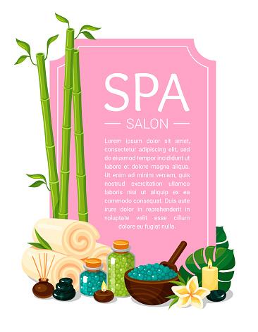 Spa salon pink vertical cartoon poster. Wellness, massage center background.