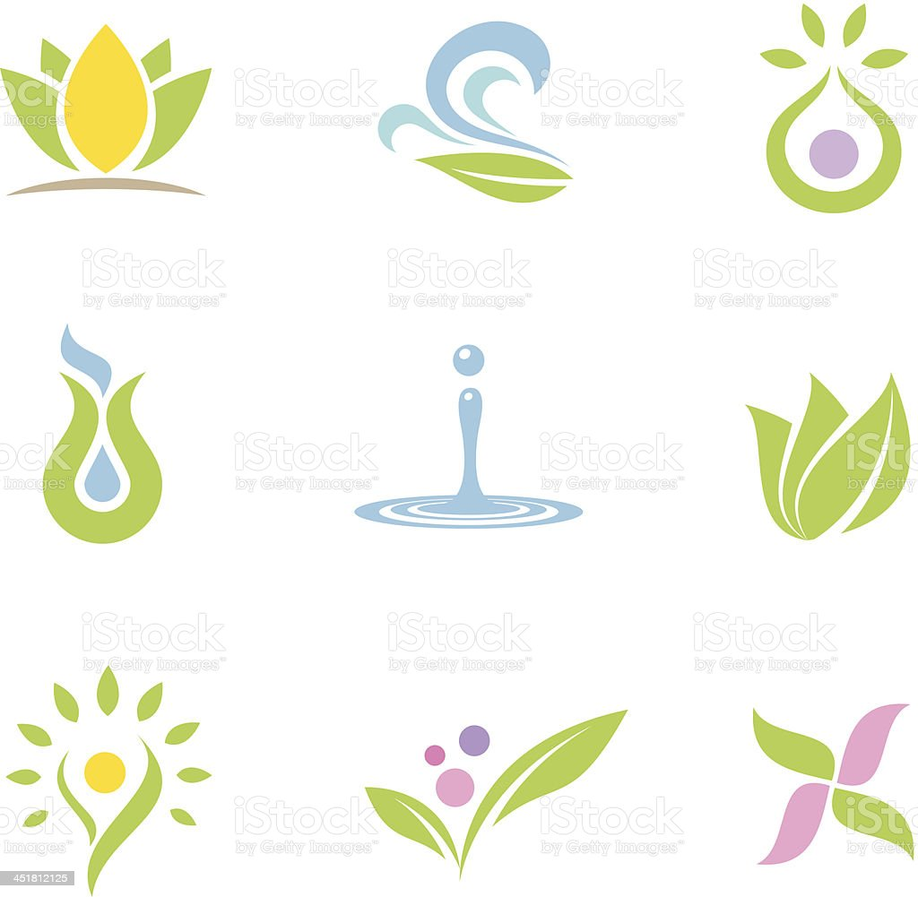 Spa set logos and icons part II vector art illustration