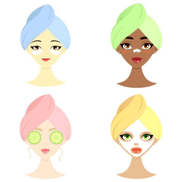 ilustrações de stock, clip art, desenhos animados e ícones de spa set of beautiful women of different nation with mask, hydrogel eye patch, cucumber and mask for nose - afro latino mask