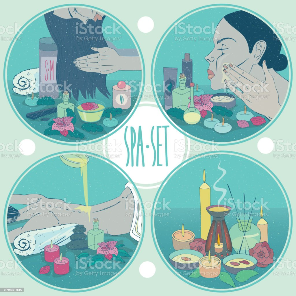 Spa set round healthcare illustrations with girl vector art illustration