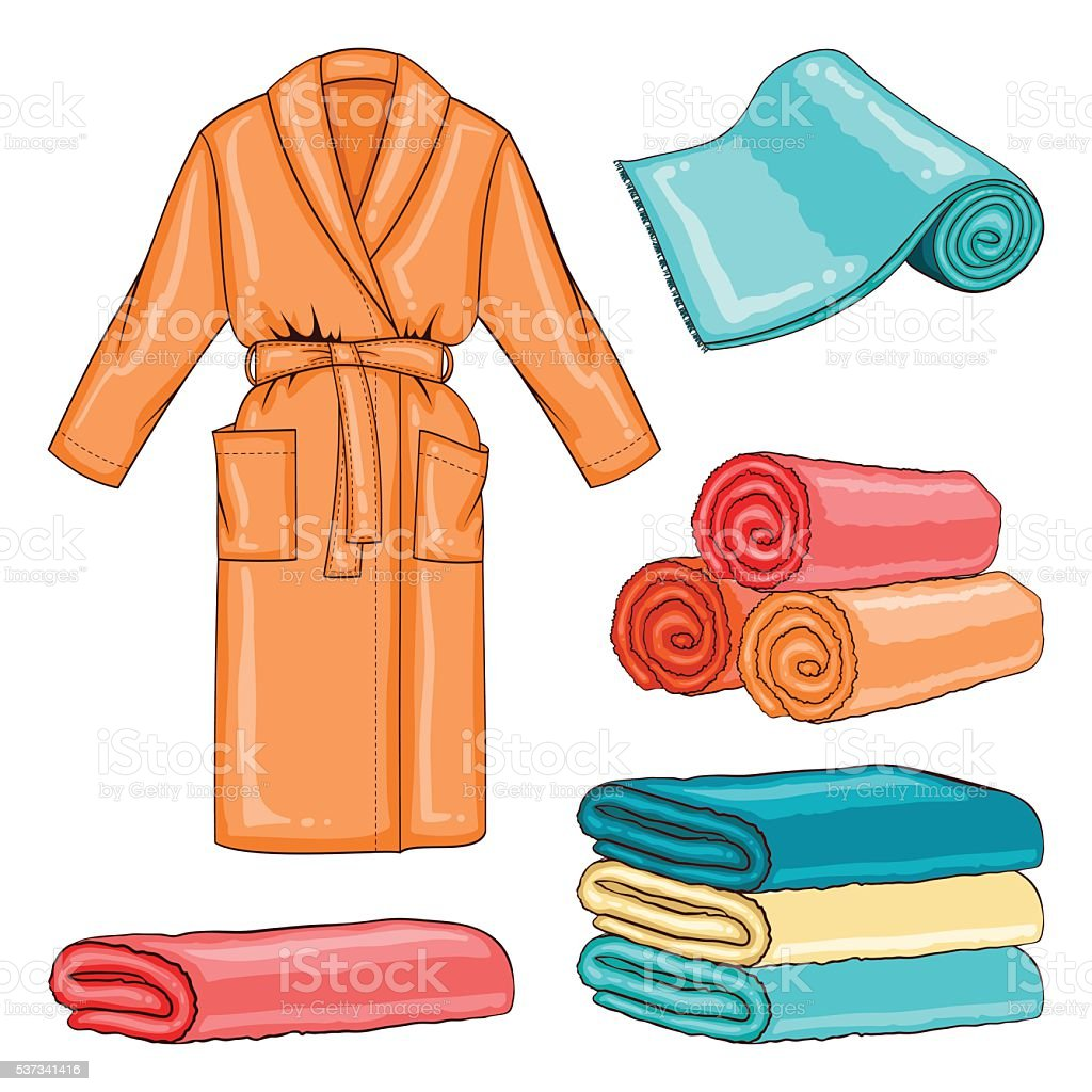 Spa set with bathrobe and towels vector art illustration