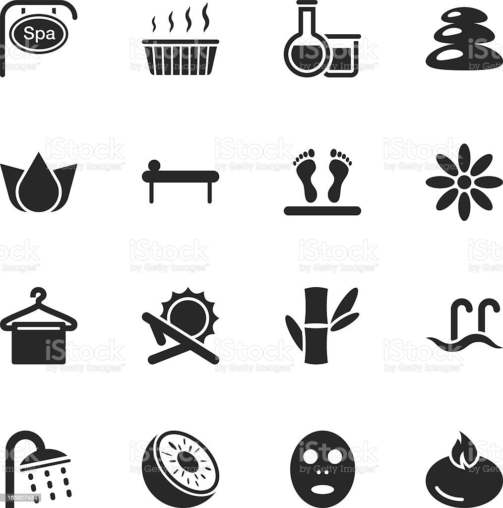 Spa Silhouette Icons vector art illustration
