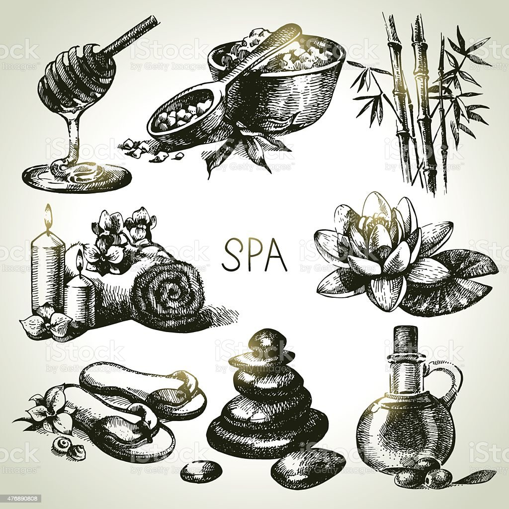 Spa sketch icon set vector art illustration