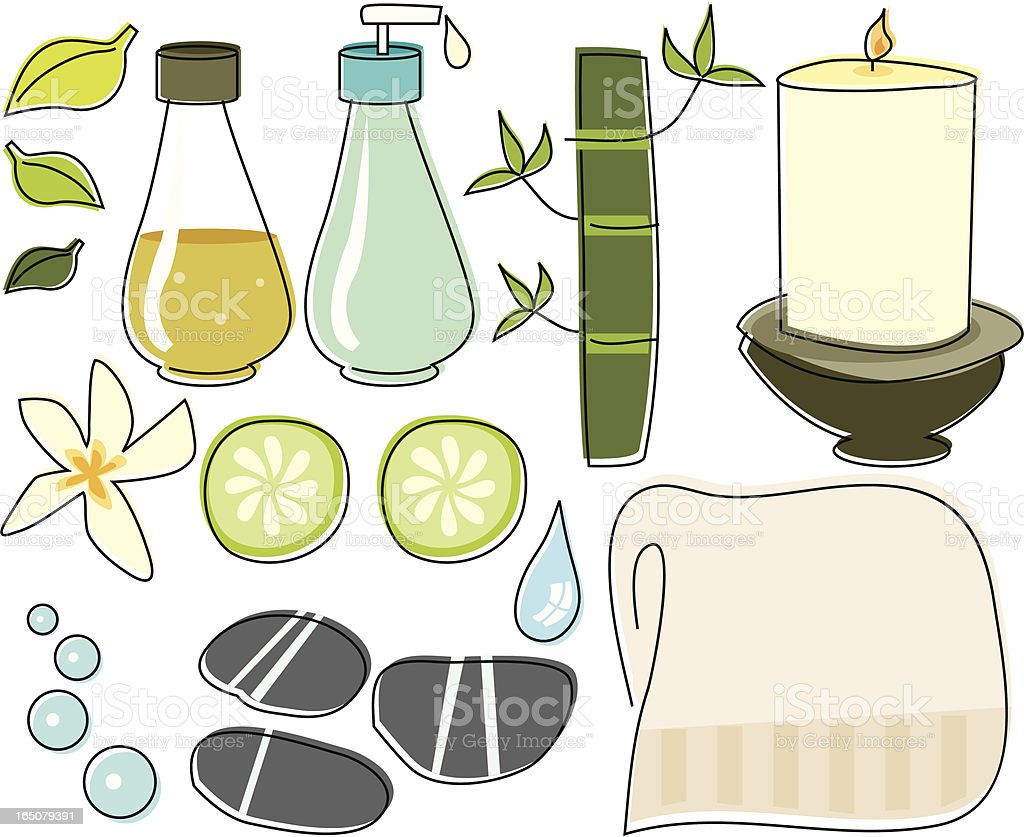 Spa Sketched Objects vector art illustration