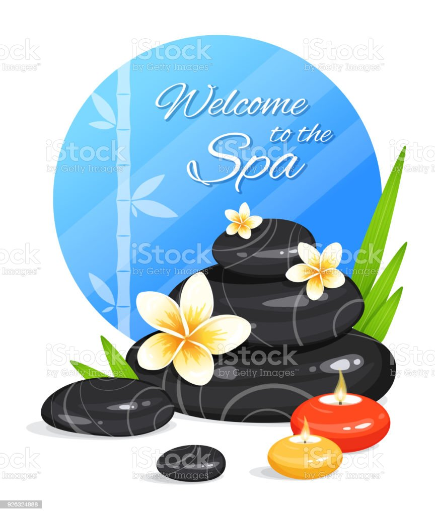 Spa Still Life With Stack Of Stones Burning Aroma Candles Bamboo Leafs And Frangipani Flowers Zen Garden Harmony And Balance Vector Illustration Stock Illustration Download Image Now Istock